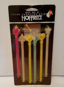 Lot Of 6 Vintage Stirrers Swizzle Sticks Color Changing NIP Moon Star Poker Suit