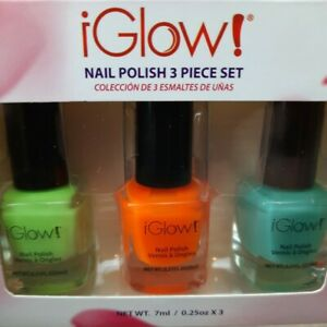 iGlow Neon Collection Nail Polish Set of 3 Green +  Orange + Blue FREE SHIPPING