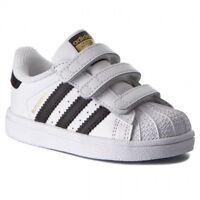 Scarpe sportive bambini ADIDAS Superstar TD in pelle bianco nero strappi BZ0418