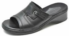 Clarks MERU Black Leather Slides Sandals Slip-Ons Women's 6 - NEW - 70111