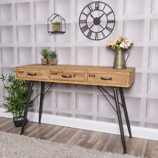 Wooden 3 Drawer Desk Console Table Loft Living Industrial Sideboard Office Home