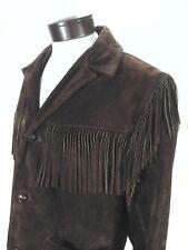 Vintage Suede Fringe Jacket Brown Hippie/Western COOPER SPORTSWEAR USA Made L