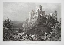 Burg Frauenstein Sachsen Erzgebirge Ludwig Richter echter  alter Stahlstich 1844
