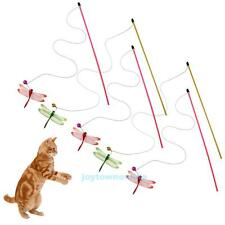 5pcs Cat Kitten Pet Teaser Dragonfly Interactive Stick Toy Wire Chaser Wands
