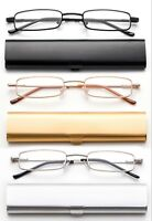 Compact Reading Glasses in Slim Aluminium Case Tube Readers Portable Readers New