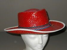 Vintage Cowboy Hat Child's Red Straw Western Medium Halloween Costume U.S.A.