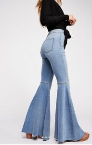 New Women's Free People Just Float On Flare Jeans High-Rise High Stretch Denim