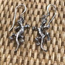"""Lizard Drop Earrings Sterling Silver """"Faceted"""""""