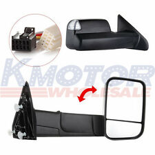 Pair Power Heated Towing Mirrors Black For Ram 1500 Pickup Signal Lights Side