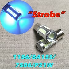 Strobe Flash Front Turn Signal light 1156 7506 P21W 8k Ice Blue LED Bulb W1 JAE