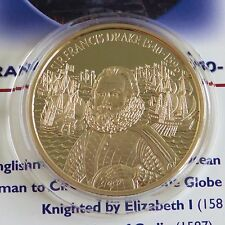 Sir Francis Drake 2003 $2 24 carati placcato in oro proof Sheet PIEDFORT-COA