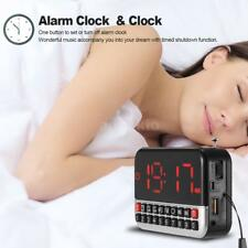 Mini LED digital Tarjeta TF MP3 Altavoz Despertador FM Radio Player AUX USB Y1C8