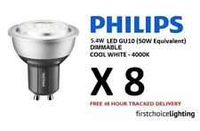 8 x Philips 5.4W (50W) Low Energy DIMMABLE GU10 LED Spot Lamps Bulbs Cool White