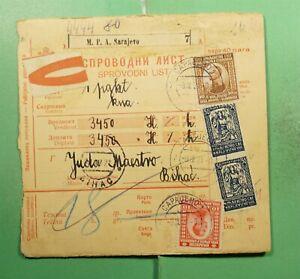 DR WHO 1921 YUGOSLAVIA SARAJEVO MONEY ORDER RECEIPT TO BIHAC  g12588