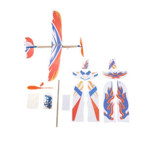 DIY Plastic Foam Elastic Rubber Powered Flying Plane Kit Aircraft Model toy BDNI