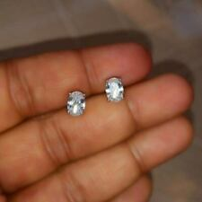 Certified 2 Ct Oval Shape Diamond Solitaire Stud Earrings Real 14k White Gold