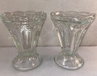 Vtg PAIR 1940-50's DRUG STORE Restaurant Pedestal Glass Ice Cream Sundae Cups