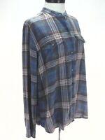 CHAPS Plaid Shirt Button Front L/S Blue Brown Salmon Band Collar Top Women's XL