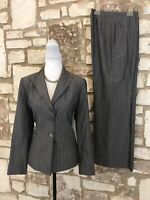 Kasper 2Pc Pant Suit  Sz 8 Pinstriped Lined Gray