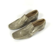 Ball-Band 9.5 Men Square Toe Gold Leather Wedding Dress Formal Slip On Shoes