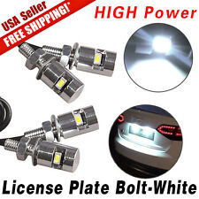4X White Motorcycle Screw Bolt Lamp Car Universal License Plate Light SMD LED US