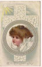 Pm1910 All Easter Joy Feather Winged Angel Cross Silver Antique Postcard