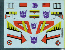 TRANSFORMERS GENERATION 1, G1 DECEPTICON PARTS BLITZWING REPRO LABELS / STICKERS