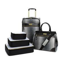 Samantha Brown Embossed Ombré 5-piece Luggage Set-BLACK/WHITE