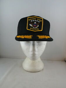 Vintage Patched Trucker Hat - Miami Vice Police Tourist Hat - Adult Snapback