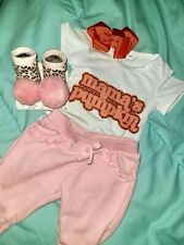 Baby Girl 0-3 MOS Halloween 4-PC Outfit/Set BABY Orange Pumpkin Pink Leopard New