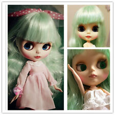 30CM Height Nude Blythe Doll From Factory Long Green Hair+Nude Body + Matte Face