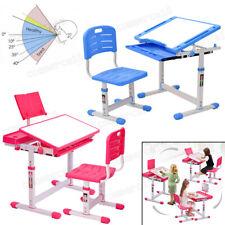 Height Adjustable Kids Study Desk Chair Set Table Drawer Boy Girl Furniture