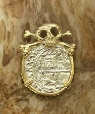 ATOCHA Coin Pendant Skull GP over 925 Sterling Sunken Treasure Shipwreck Jewelry