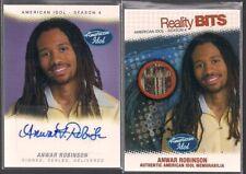 AMERICAN IDOL 4 FLEER ANWAR ROBINSON AUTOGRAPH & REALITY BITS RELIC 2 CARD SET