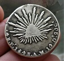 More details for 1843 mexico 4 reales very scarce silver coin.