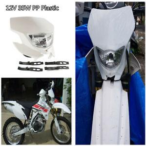 12V 35W White Hi/Lo Beam Motocross Motorcycle Headlight Fairing w/Rubber Strips