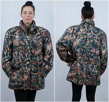 Vtg Womens Multi Quilted Ski Winter Crazy Designer Zip Up Jacket SIZE UK18, XL