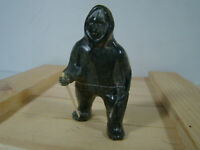 SOAPSTONE INUIT ESKIMO CARVINGS ESKIMO WITH WALKING STICK SIGNED LUKE