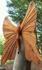 "VTG Handcrafted Wooden Butterfly 12 Wood Species Artisan Folk Art Huge 30"""
