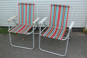 Vintage Folding Garden Deck Chair Pair Camping VW Camper Candy Striped Metal Arm