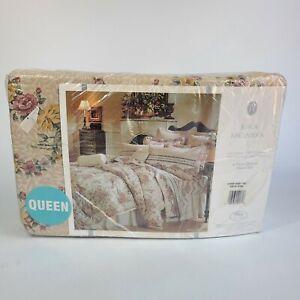 Vintage Jessica McClintock Santa Rosa Queen 4 Piece Sheet Set New Tan Floral
