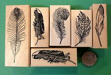 Feathers, Set of (6) Wood Mounted Rubber Stamps