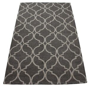 Carpet 100% Wool Anthracite Grey Beige Handmade Oriental Rug 150x240 CM