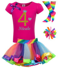 4th Birthday Girl Shirt Pink Gold Outfit Rainbow Tutu Set  Socks Hair Bow Name 4