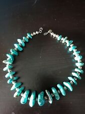 TURQUOISE Morenci d'Arizona - USA. Collier ethnique NAVAJOS, argent sterling.