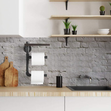 2-Tier Toilet Tissue Paper Holder Industrial Rustic Style Iron Pipe Wall Mount