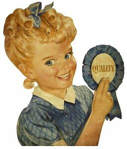 SUNBEAM BREAD QUALITY BLUE RIBBON HEAVY DUTY USA MADE METAL ADVERTISING SIGN