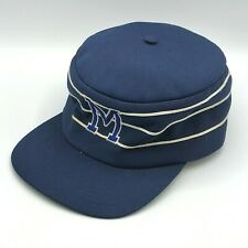 New listing Vinatage Twins Enterprise M Blue Striped Pill Box Snapback Cap Hat Polyester