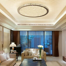 Contemporary LED Crystal Glass Beads Round Entrance Ceiling Flush Mount Chrome