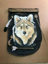 """HAND PAINTED WOLF  ON LEATHER HIDE , 31"""" X 21"""" , SANTA FE STYLE ,COWHIDE"""